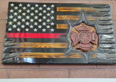 Firefighter flag display in the Williams Fire Museum