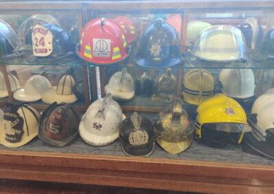 Firefighter helmet display in the Williams Fire Museum